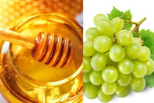 mật ong và nho xanh giúp giảm nám da